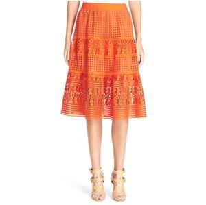 Diane Von Furstenberg Tiana Lace Midi Skirt Orange